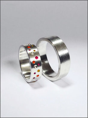 Wedding rings - Christophe & Céline - silver and resin- Nelly Chemin
