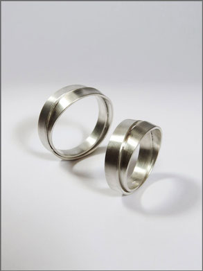Wedding rings - Damien & Lise - silver- Nelly Chemin