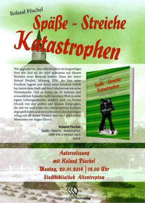 Werbeplakat DIN A3/A4 zu meiner 1. Buchlesung in der Stadtbibliothek von Altentreptow