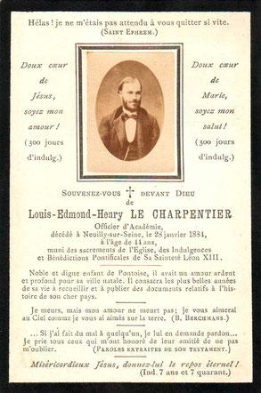 Faire part de décès d'Henri Le Charpentier (Archives municipales de Pontoise)