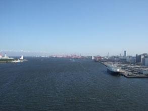 右から、品川ふ頭、大井ふ頭、羽田空港。左手には船の科学館が見えます。