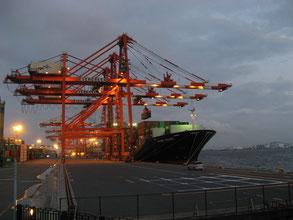 ガントリークレーンとは、船からコンテナを荷卸しするためのクレーン。運が良ければ、このようにガントリークレーンが動いているさまを眼前で見ることができます。