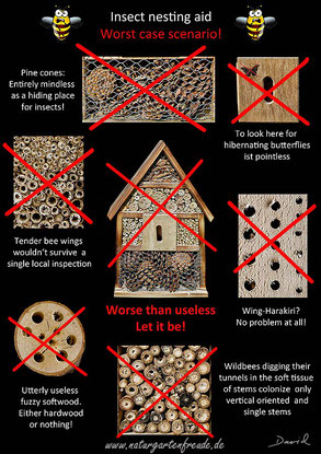 poster insect nesting aid insect hotel wild bee wildlife garden pine cones softwood drills  negative example bug house Neudorff