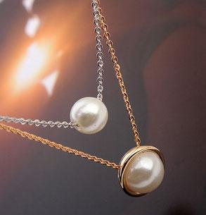 Halskette Roségold mit Perlen