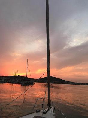Sunset in Croatia - White Wake sailing