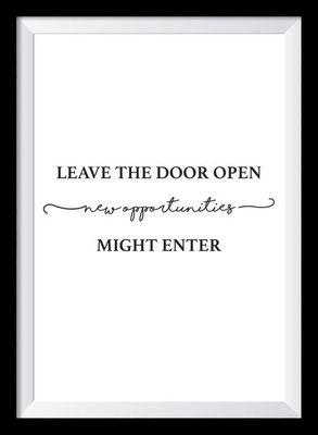 Typografie Poster, Typografie Print Motivation, leave the door open