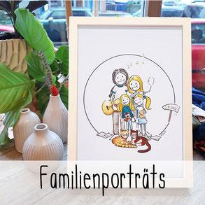 Familienporträt Comic Persönliches Porträt Familie Haustier