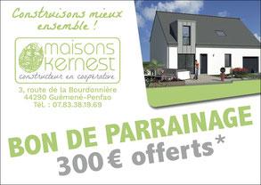 bon de parrainage de 300 euros offerts pour toute recommandation permettant la construction d'une maison neuve
