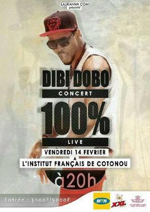 Dibi Dobo en concert 100 % live vendredi 14 février saint valentin à l'institut français de cotonou à 20 h entrée 300F/5000F