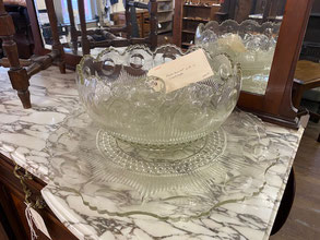 Punch Bowl with Twelve Cups and Plate $295.00