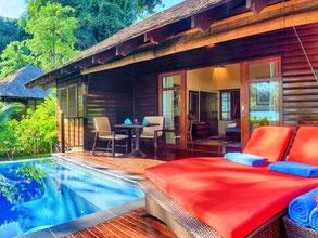 Bunga Raya Island resort op Gaya Island voor de kust van Kota Kinabalu in Sabah op Borneo