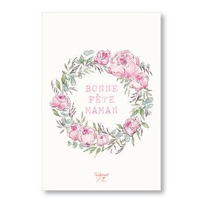tendrement fé illustration papeterie bohème carte bonne fête maman couronne de fleurs aquarelle poétique