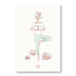 Tendrement Fé - illustration papeterie bohème carte petite yogi namasté yoga collection illustrée aquarelle poétique illustratrice