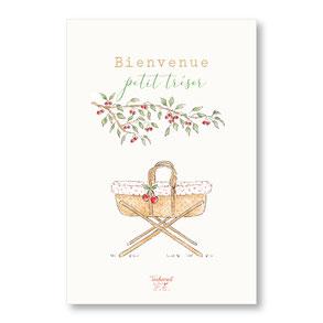 tendrement fé illustration papeterie bohème carte couffin cerises collection illustrée naissance vintage aquarelle poétique