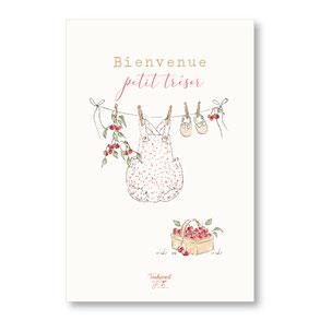 tendrement fé illustration papeterie bohème carte layette cerises collection naissance aquarelle poétique