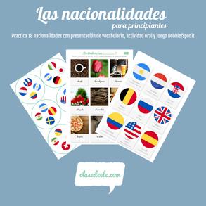 Vocabulario de las nacionalidades gentilicios para la clase español