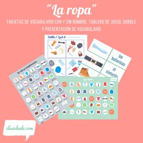 Vocabulario de la ropa y los complementos para la clase español