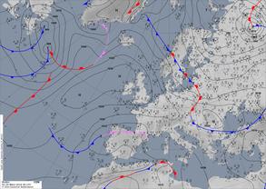 Bodenwetterkarte einer antizyklonalen Nordwestlage. | Bildquelle: Deutscher Wetterdienst
