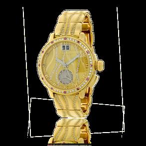 Damenuhr in Gelbgold mit Brillanten und pinken Saphiren aus der Himalaja Kollektion und angefertigt auf Kundenwunsch von der Goldschmiede OBSESSION Zürich und Wetzikon