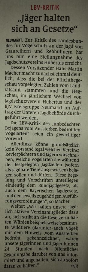Quelle: Fotografie von Hans-Martin Macher. Artikel in den Neumarkter Nachrichten | Ausgabe: 9. Mai 2019.