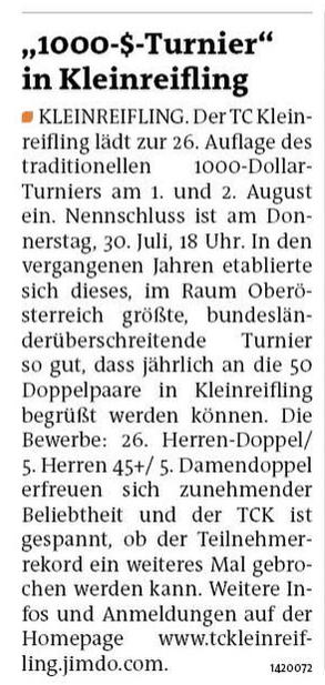 Artikel in der Bezirksrundschau Steyr - Ausgabe Nr. 30