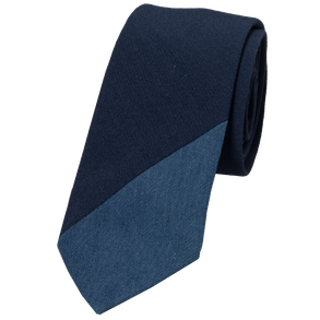 Blauwe stropdas denim inzetstuk Senor Guapo
