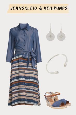 Outfit Jeanskleid und Keilpumps