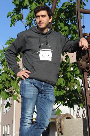 leichtes Kapuzensweatshirt anthrazit mit weissem Aufdruck