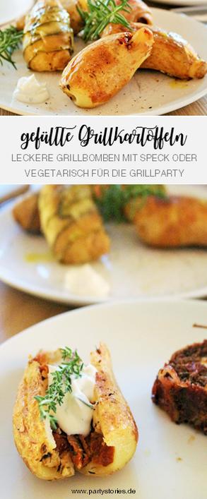 Bild: Rezept für Grillkartoffeln – vegetarische Folienkartoffeln mit Füllung grillen; Rezept und Anleitung für Partyfood vom Grill von www.partystories.de
