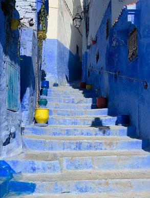 blaue Treppe in Marokko