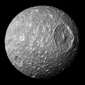 Photo 1. Moon of Saturn Mimas. Cassini. 2005