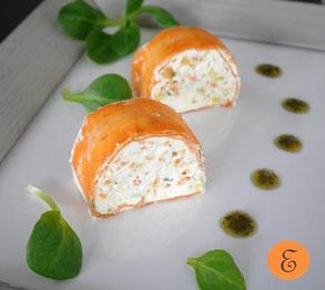 Linsenmousse im Karottenmantel / Kräuteröl