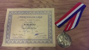 入賞時に頂いたメダルと賞状