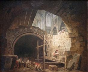 Hubert Robert. Violation de la crype des Bourbons.Musée Carnavalet. (Source : téléversé par O.Taris, Wikimedia)