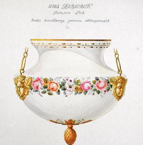 Эскиз воссоздания росписи светильников Розового павильона. Автор В. Хмелевский
