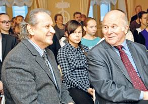 М. Н. Толстой и С. М. Некрасов на празднике книги в Лицее