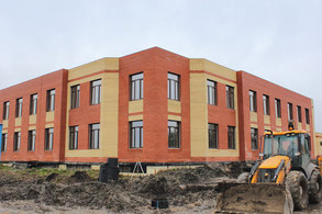 Строящееся здание подразделения скорой помощи в Пушкине