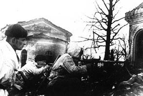 Наступление бойцов 56-й стрелковой дивизии на станции Александровская