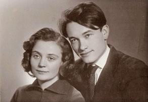 Евгений Груданов с женой Эрной после свадьбы. 1966 г.