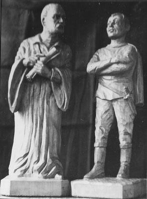 Faust und Mephisto - geschnitzt von Rudolf Kunis nach einem Foto von G. Dietel