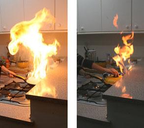 Aceite ardiendo en una sartén
