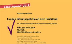 Podiumsdiskussion mit den Bildungssprecher*innen der zur Landtagswahl kandidierenden Parteien
