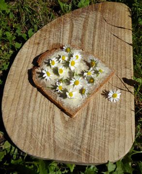gesundes Butterbrot, Gänseblümchen, gesund und dekorativ