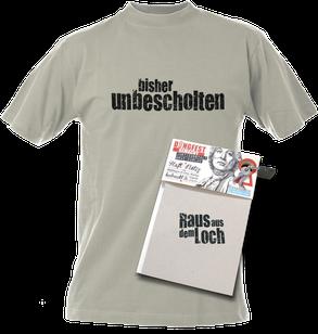 """Lichtgraues T-Shirt bedruckt von Häftlingen mit dem Text """"bisher unbescholten"""", Markenname DiNGFEST GEMACHT zusätzlich klein mitgedruckt"""
