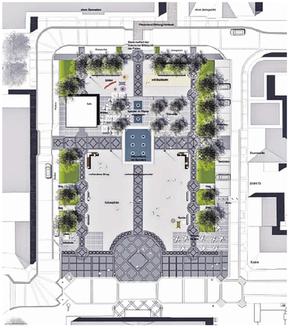 Ein Mehr an Kurzzeit-Parkplätzen wird der neue Kaiserplatz zusätzlich an seiner Ost- und Südseite bieten. Plan: A. Winterscheid