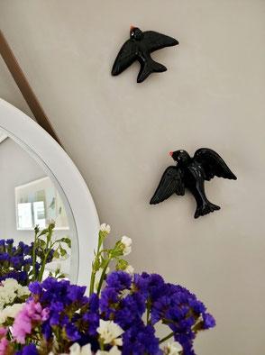 Golondrinas negras de cerámica