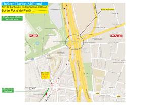 Plan routier par la Porte de Pantin, arrivée par l'ouest de Paris; cliquez sur l'image pour l'agrandir.