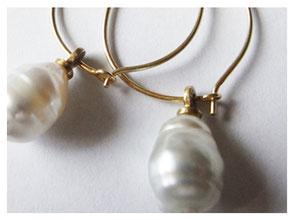 Ohrhänger, Kreolen, 750er Gold, Barock Perle