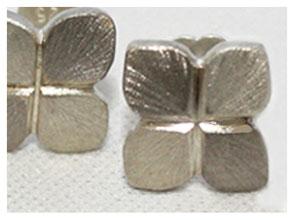 Ohrstecker, Kleeblatt, Silber und Palladium Weißgold