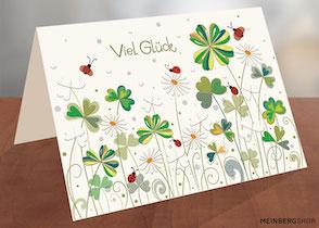 Glückwunschkarte Blüten Bienen